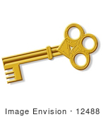 #12488 Skeleton Key Clipart
