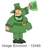 #12490 Green Beer For St Patrick'S Day Clipart