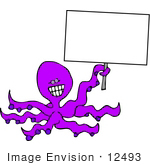 #12493 Octopus Holding a Blank Sign Clipart by DJArt