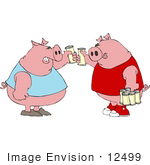 #12499 Pigs Drinking Beer Clipart