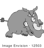 #12503 Angry Rhino Charging Clipart