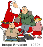 #12504 Children On Santa'S Lap Clipart
