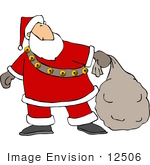 #12506 Santa Carrying A Sack Of Toys Clipart