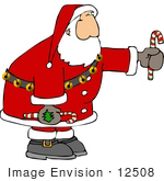 #12508 Santa Holding Candy Canes Clipart
