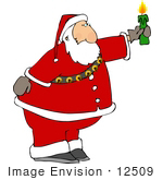 #12509 Santa Holding A Candle Clipart