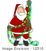 #12510 Santa Untangling Christmas Lights Clipart