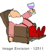 #12511 Santa Drinking Wine In A Recliner Clipart