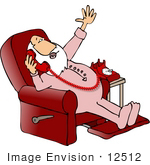 #12512 Santa In His Pjs Talking On A Phone In A Reclining Chair Clipart