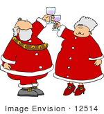 #12514 Mrs And Mr Santa Claus Toasting With Wine Clipart