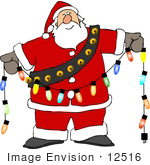 #12516 Santa Holding Christmas Lights Clipart by DJArt