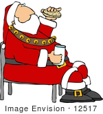 #12517 Santa Drinking Milk And Eating A Cookie Clipart