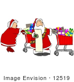 #12519 Mrs Claus Christmas Shopping With Santa Clipart