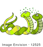 #12525 Two Snakes In Love Clipart