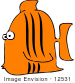 #12531 Orange Fish Clipart