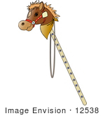 #12538 Stick Horse Toy Clipart