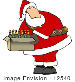 #12540 Santa With A Box Of Wine Clipart