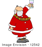 #12542 Santa Toasting With Wine Clipart