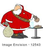 #12543 Santa Eating Cookies Clipart