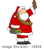 #12544 Santa Carrying A Bottle Of Wine Clipart