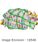 #12548 Pig Decorated Like a Christmas Tree Clipart by DJArt