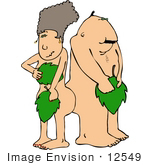 #12549 Adam And Eve With Leaves Clipart