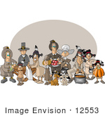 #12553 Pilgrims Dogs And Native American Indians On Thanksgiving Clipart