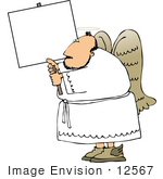 #12567 Male Angel Holding A Blank Sign Clipart