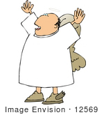 #12569 Male Angel With His Arms Up Clipart