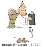 #12570 Angel Reading A Book Clipart