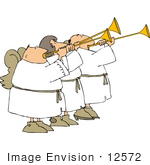 #12572 Angels Playing Trumpets Clipart