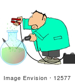#12577 Scientist Using Jumper Cables On A Elixer Clipart