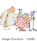 #12580 Elderly Man And Woman In Hospital Gowns With Ivs Clipart