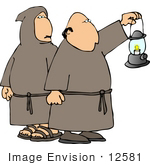 #12581 Robed Catholic Monks Carrying A Lantern Clipart