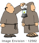 #12582 Catholic Monks In Robes Carrying A Lantern Clipart