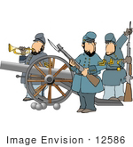 #12586 Three Military Men Clipart