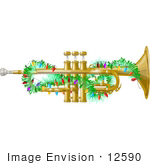 #12590 Horn Decorated With Christmas Lights Clipart