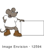 #12594 Mouse In Boots Holding A Blank Sign Clipart