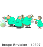 #12597 Three Scientists Being Inspected Clipart
