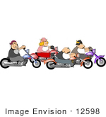 #12598 Team Of Bikers On Motorcycles Clipart