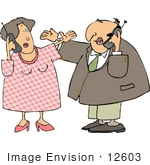#12603 Man And Woman On Cell Phones Clipart