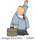 #12604 Businessman Hailing A Cab Clipart