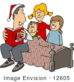 #12605 Family Reading A Christmas Story Clipart