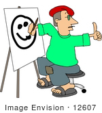 #12607 Artist Painting A Face On Easel Clipart