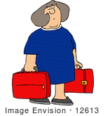 #12613 Woman Carrying Red Suitcases Clipart