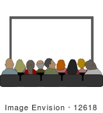 #12618 People At The Movies Clipart