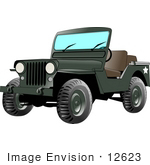#12623 Green Jeep Vehicle Clipart