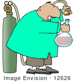 #12626 Scientist Putting Oxygen In His Concoction Clipart