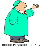 #12627 Scientist In A Lab Coat With His Hand Up Clipart