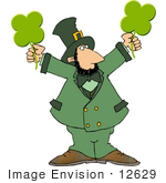 #12629 St Paddy'S Day Leprechaun With Clovers Clipart