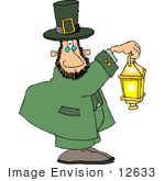 #12633 Leprechaun Carrying A Lantern Clipart